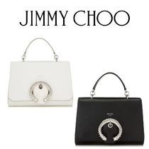 Jimmy Choo Calfskin 2WAY Plain Party Style With Jewels Crossbody Logo