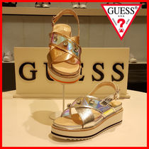 Guess Tropical Patterns Open Toe Platform Party Style