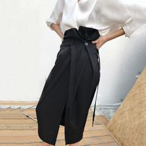 Pencil Skirts Blended Fabrics Street Style Plain Cotton