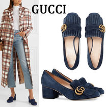 GUCCI GG Marmont Square Toe Suede Plain Elegant Style Chunky Heels