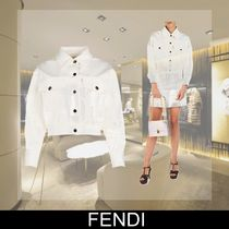 FENDI Short Casual Style Denim Plain Jackets
