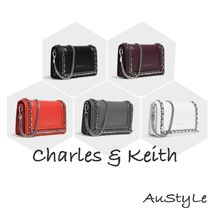 Charles&Keith Faux Fur 2WAY Chain Plain Party Style Clutches