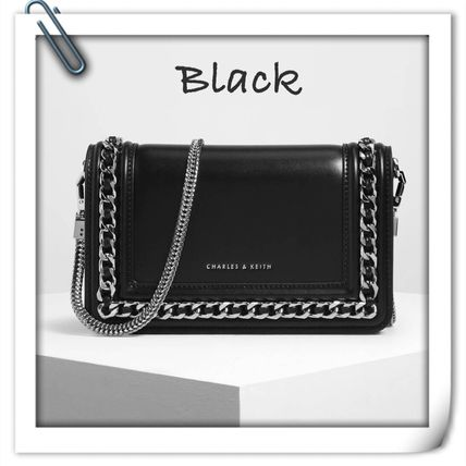 Charles&Keith Faux Fur 2WAY Chain Plain Party Style Crossbody Wallet Chain