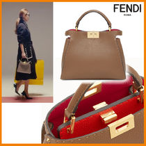 FENDI PEEKABOO Casual Style Calfskin 2WAY Bi-color Handmade Shoulder Bags
