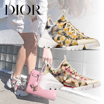 Christian Dior Flower Patterns Plain Toe Rubber Sole Lace-up Casual Style