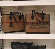 Burberry Doodletote Check Reversible Canvas Tote