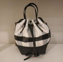 Burberry  Canvas Check And Leather Bucket Bag  HESTON