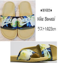 Nike BENASSI Flower Patterns Tropical Patterns Open Toe Casual Style
