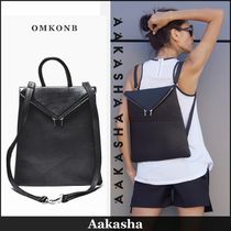 Aakasha Casual Style Plain Leather Backpacks