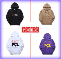 PUNCHLINE Unisex Street Style Long Sleeves Cotton Hoodies