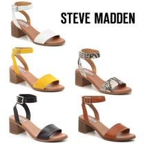 Steve Madden Casual Style Plain Leather Chunky Heels Sandals