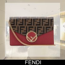 FENDI Calfskin Chain Plain Long Wallets