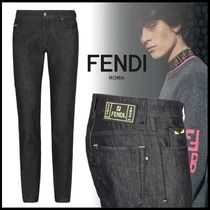 FENDI BAG BUGS Denim Street Style Plain Skinny Fit Pants