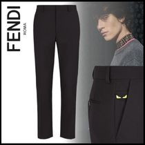 FENDI BAG BUGS Slax Pants Wool Plain Slacks Pants