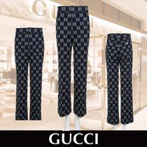GUCCI Cotton Long Elegant Style Cropped & Capris Pants