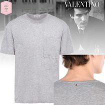 VALENTINO Blended Fabrics Studded Plain Cotton Short Sleeves T-Shirts