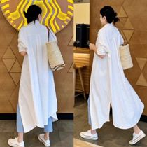 Casual Style Linen Street Style Long Sleeves Plain Long