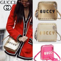 GUCCI Casual Style Leather Crossbody Logo Shoulder Bags