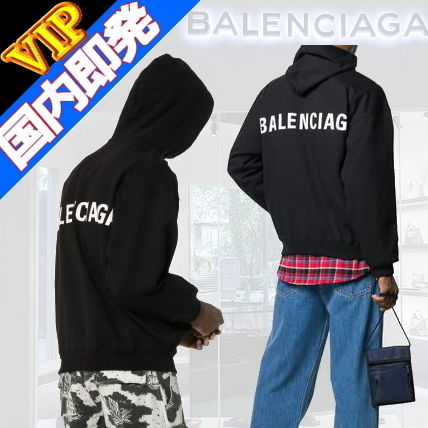 BALENCIAGA Hoodies Unisex Street Style Long Sleeves Plain Cotton Hoodies