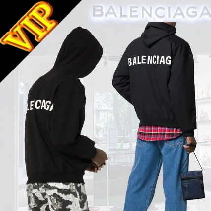 BALENCIAGA Hoodies Unisex Street Style Long Sleeves Plain Cotton Hoodies 3