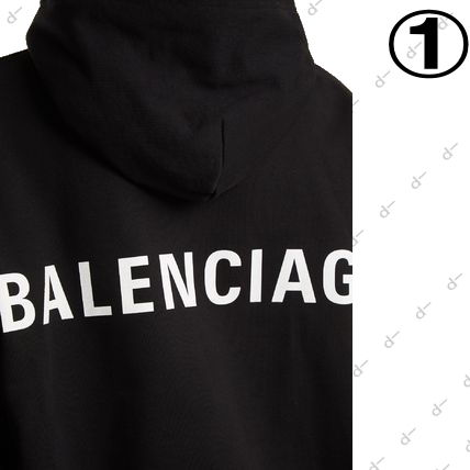 BALENCIAGA Hoodies Unisex Street Style Long Sleeves Plain Cotton Hoodies 6