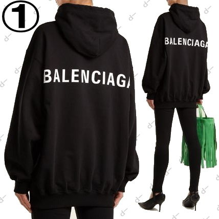 BALENCIAGA Hoodies Unisex Street Style Long Sleeves Plain Cotton Hoodies 7