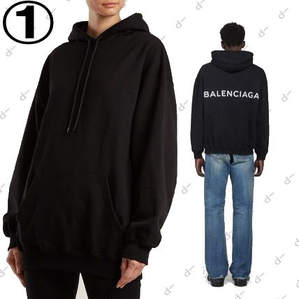 BALENCIAGA Hoodies Unisex Street Style Long Sleeves Plain Cotton Hoodies 8
