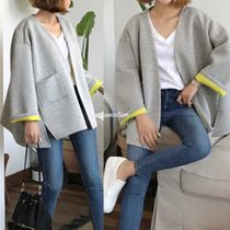 Casual Style Bi-color Plain Medium Oversized Jackets