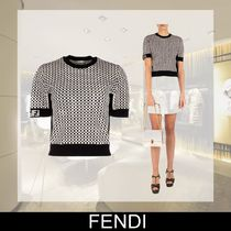 FENDI Crew Neck Medium Short Sleeves Logos on the Sleeves T-Shirts