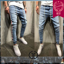 Gentleman To Be Stripes Denim Street Style Joggers Jeans & Denim