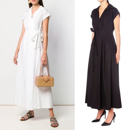 Casual Style A-line V-Neck Plain Cotton Long Short Sleeves