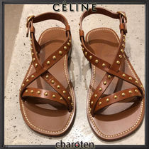 CELINE Open Toe Blended Fabrics Plain Leather Elegant Style Sandals