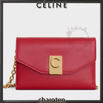 CELINE Chain Plain Leather iPhone X Wallet Chain iPhone XS