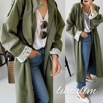 Casual Style Plain Long Oversized Khaki Parkas