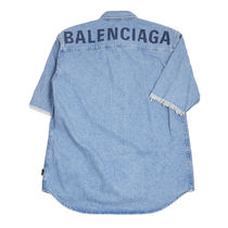 BALENCIAGA Denim Street Style Short Sleeves Shirts