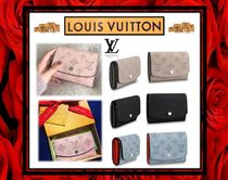Louis Vuitton MAHINA Unisex Plain Leather Folding Wallets