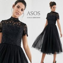 ASOS Medium Short Sleeves Party Style High-Neck Lace Dresses