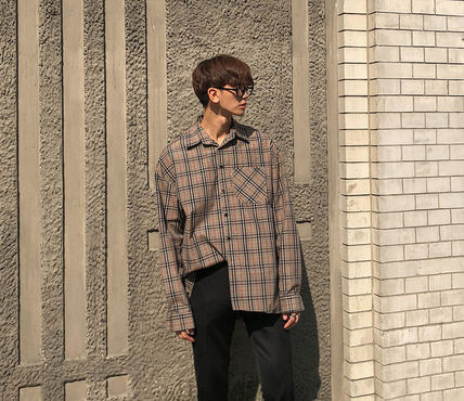 ASCLO Shirts Glen Patterns Long Sleeves Oversized Shirts 2
