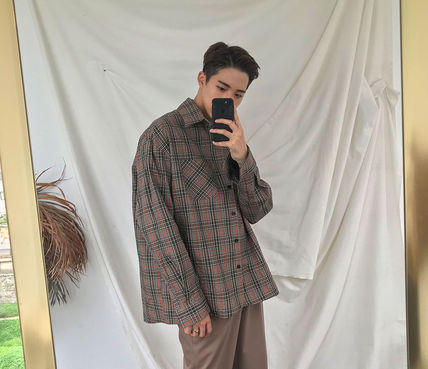 ASCLO Shirts Glen Patterns Long Sleeves Oversized Shirts 3