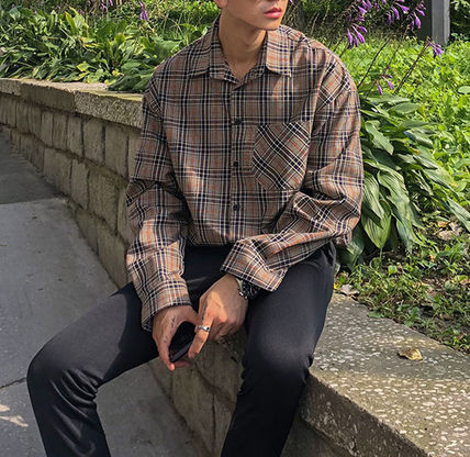 ASCLO Shirts Glen Patterns Long Sleeves Oversized Shirts 8