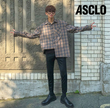 ASCLO Shirts Glen Patterns Long Sleeves Oversized Shirts