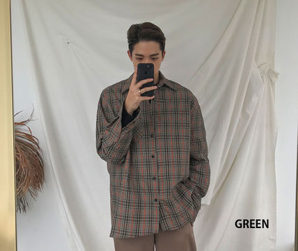 ASCLO Shirts Glen Patterns Long Sleeves Oversized Shirts 10