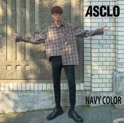 ASCLO Shirts Glen Patterns Long Sleeves Oversized Shirts 9