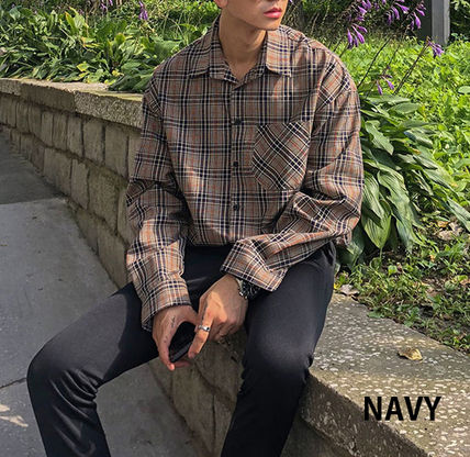 ASCLO Shirts Glen Patterns Long Sleeves Oversized Shirts 11