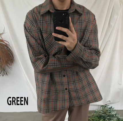 ASCLO Shirts Glen Patterns Long Sleeves Oversized Shirts 12