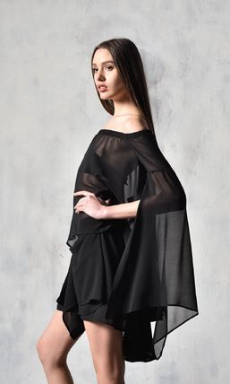 Casual Style Chiffon Plain Off the Shoulder
