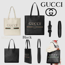GUCCI Stripes A4 Leather Totes