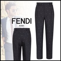FENDI BAG BUGS Slax Pants Cotton Logo Slacks Pants
