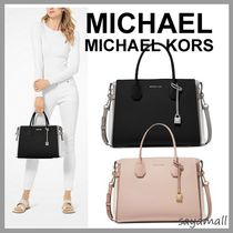 Michael Kors MERCER A4 2WAY Plain Leather Elegant Style Handbags