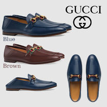 GUCCI Stripes Loafers Plain Leather Loafers & Slip-ons